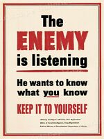 """Espionage!  """"The Enemy is Listening"""" WW2 Vintage Style Spy Poster - 24x32"""
