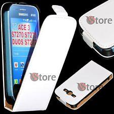 Étui Flip pour Samsung Galaxy Ace 3 S7270 S7275 S7272 Duos Cuir Écologique Blanc