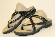 Ecco Womens 37 6 6.5 Comfort Strappy Black Leather Open Toe Flat Comfort Sandals