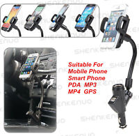 Cigarette Lighter Dual USB Car Charger Mount Holder GPS For Phone iPhone Galaxy