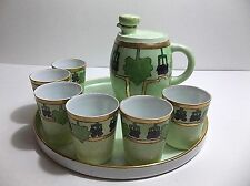 Antique Porcelain Liquor Set DECANTER Tray Shot Glasses PRUSSIA O & EG Royal