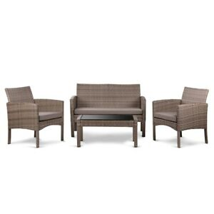 Conjunto de muebles de jardin 4 plazas, mesa centro+sofa+sillones, ratan marron