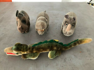 Zwei Steiff Nashörner, ein Krokodil und ein Flusspferd als Konvolut