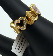 NWT COACH MULTI HEART PAVE RING Gold Tone Pave Crystals Hearts AUTHENTIC
