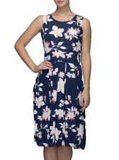 Women Blue Rayon Floral Printed Dress