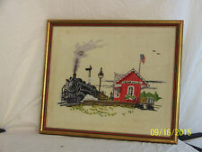 """Vintage Hand Made Tapestry Stitching of Train Station """"Cedar Valley"""" Framed"""