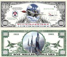 USAF Thunderbirds Million Dollar Bill Play Funny Money Novelty Note +FREE SLEEVE