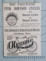 1896 Fitchburg Massachusetts Iver Johnsons Bicycles Art Faultless Vtg Print Ad