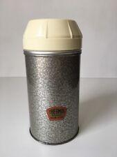 Vintage Grey Silver Thermos Flask Cork Top Metal Base Plastic Top Soup Camper VW