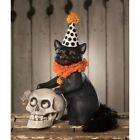 "13"" Bethany Lowe Purrfect Black Cat Mouse Skull Figurine Retro Halloween Decor"