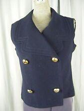 PIERRE CARDIN Vintage 60s Blue Wool Blended Gold Buttons Mod Vest-Bust 36/XS-S