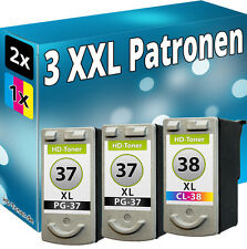 SET 2x PG37+CL38 TINTE PATRONEN für CANON PIXMA MP140 MP190 MP210 MP220 MP470
