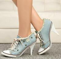 Womens High Heel Rivet Denim Lace Up Boot Ripped Sneaker Party Shoes MUK15