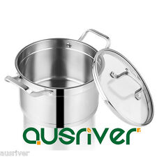 304 Stainless Steel Cookware 22cm Saucepan Pan Tempered Glass Lid Induction Gas