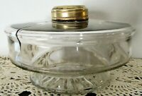 "Antique Clear Glass Font for Hanging Kerosene or Oil Lamp Brass Collar 4"" Base"