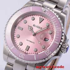 40mm Bliger pink dial vintage sapphire crystal automatic movement womens watch42