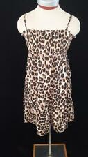 Justice dress girls size 14 brown animal print gold sequins spaghetti straps