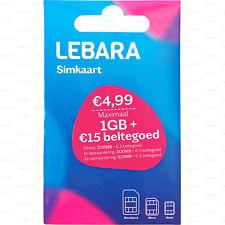 Prepaid SIM-Karte 1 GB DATEN + 15 € Guthaben Einsatzbereit Lebara NL Aktiviert
