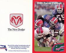 1998 UNIVERSITY OF FLORIDA GATORS FOOTBALL POCKET SCHEDULE - UNFOLDED