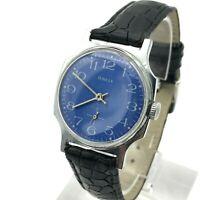 Soviet Mens Blue Classic POBEDA Vintage Wristwatch USSR Mechanical Rare SERVICED
