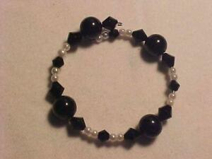 Black and White Beaded Stretch Bangle Open Cuff Bracelet Faux Pearl