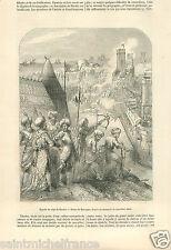 Siège de Rhodes 1480 Ottoman Empire Turkey Manuscrit BNF GRAVURE OLD PRINT 1856