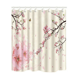Butterfly Cherry Blossoms Flower Waterproof Fabric Shower Curtain 84 Inches Long