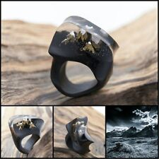 Wood resin ring Mon Blanc Handmade jewelry Epoxy resin rings for women