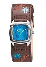 Kahuna Women's Quartz Watch, Blue Dial Analogue Display, Brown Cuff AKLS-0225L