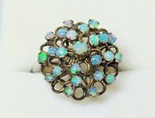 14K MID-CENTRY YELLOW GOLD & JELLY OPAL HIGH DOME CLUSTER RING, Sz 6.25