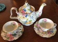 EDWARDIAN ENGLISH STYLE FLORAL TEA SET / TEAPOT,  2 CUPS & SAUCERS REPRODUCTION