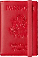 RFID Blocking Leather Passport Holder Travel Wallet Elastic Strap - RED