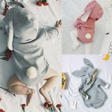 Newborn Infant Baby Girl Boy Solid Easter Bunny Romper Bodysuit Clothes Outfits