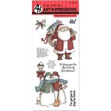 Art Impressions Clear STAMPS - Merriest Christmas Set Santa Snowmen Snowman