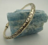 """Miao Hill Tribe Handmade Chinese Silver Toned Metal X-Large Bangle Bracelet 9"""""""