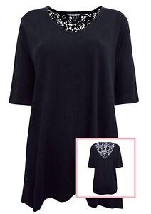 Black Lace Top Plus Size 16 18 20 24 26 28 V neck jersey Smart cotton blouse 519