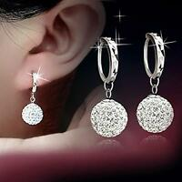 1Pair Women 925 Plated Silver Crystal Rhinestone Ear Stud Earrings Hoop Jewelry