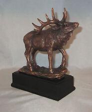 "Elk Bull Bronzed Statue Figurine 7.1"" High Wild Animals Wildlife New Box Calling"