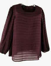 22 2X Talbots100% Silk Burgundy Pintucked Sheer Long Sleeve Blouse Top MSRP $149
