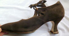 Original Antique 1900-1910s Brown Suede Cut-Out Heals Shoes Size 6 Edwardian