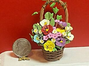 Vintage Artisan Basket Flower Arrangement Dollhouse Miniature 1:12 Pansys