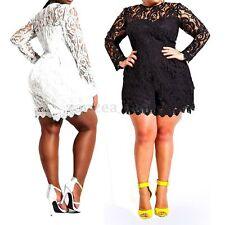 Plus Size Women's Lace Crochet Jumpsuit Playsuit Short Party Mini Dress Clubwear
