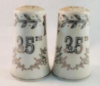 Vintage Lefton's 1957 25th Anniversary Salt & Pepper Shakers Japan