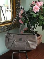 Coach Bag Wristlet Madison  Metallic Leather Gunmetal Chain Large 47192 B12