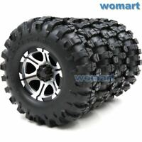 4pcs 1.9'' Crawler Tires & 1.9 Alum Beadlock Wheel Rims Fit RC 4WD Axial Crawler