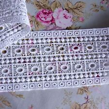 "Embroidered Cotton Lace Edge Trim Off White 4.5""(11cm) Wide 1Yd"