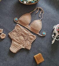 New Womens Handmade Swimwear Crochet Swimsuit Knitted Beach Bikini Bathing Suit
