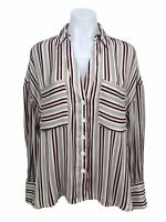 Free People Womens Striped Button Up Pocket Shirt Long Sleeve Top Blouse Size S