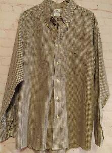 NWT Lacoste Mens Button Down Dress Shirt Size XL 44 Tan/White Checkerd