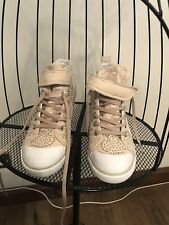 GUESS - Heeled Wedge Beige Trainer with Silver Studs - Size 6